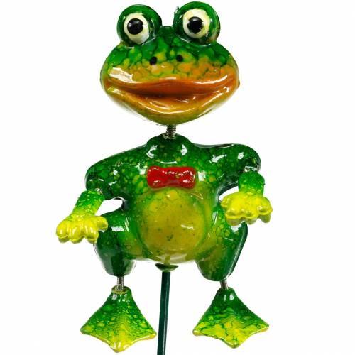 Pflanzenstecker Deko-Frosch mit Fliege und Metallfedern Grün, Gelb, Rot H68,5cm