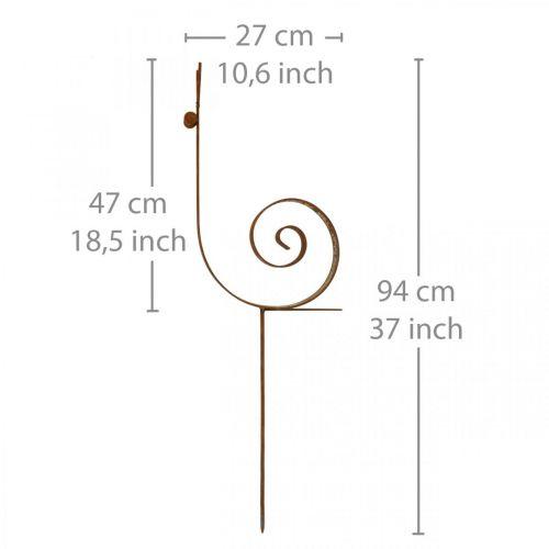 Gartenstecker Schnecke groß Rost Metall Gartendeko H94cm