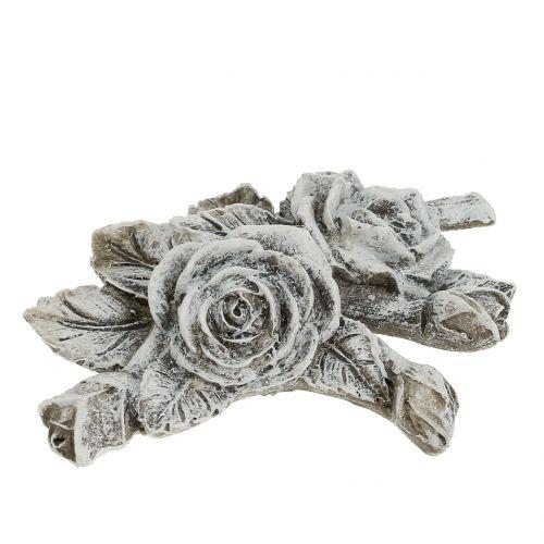 Rose für Grabschmuck Grau 16cm x 13,5cm 2St preiswert online