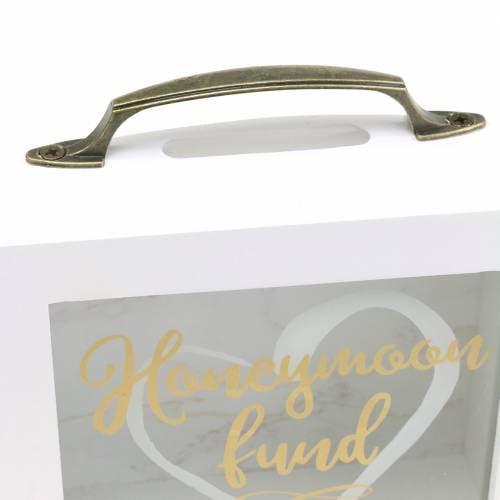 """Hochzeitsspardose """"Honeymoon Fund"""" Holz mit Glasfront Weiß H15m"""