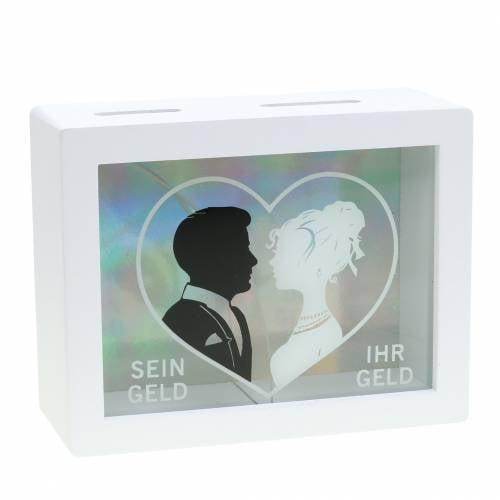 Spardose Mann und Frau Holz Glas Weiß 18x7cm H14cm