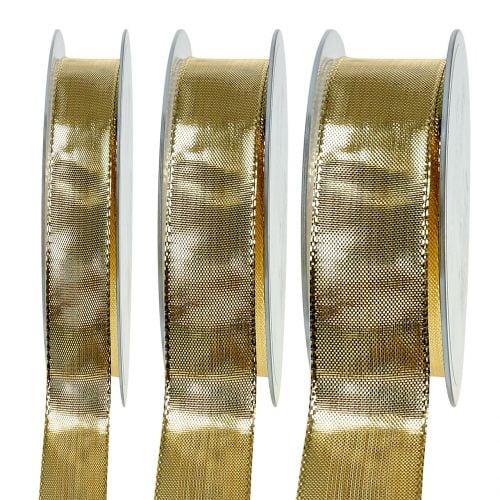 Geschenkband Gold mit Drahtkante 25m