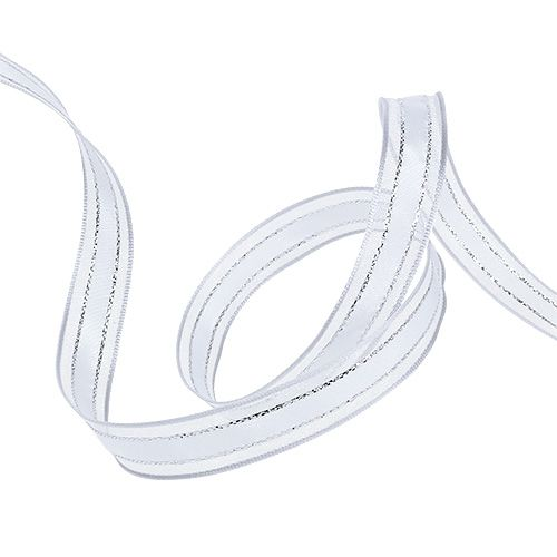 Geschenkband mit Drahtkante Weiß 15mm 20m
