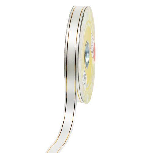 Geschenkband 2 Goldstreifen auf Weiß 19mm 100m