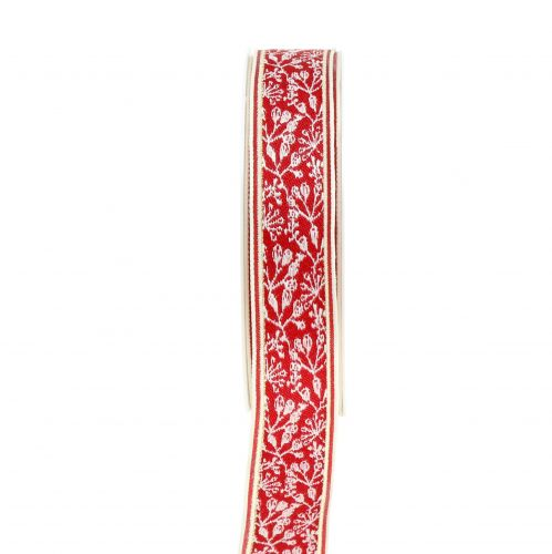 Geschenkband Beerenstrauch Jacquard mit Drahtkante Rot, Crème 25mm L15m