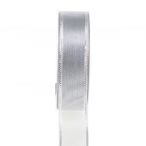 Geschenkband Silber Ringeleffekt 25mm 25m