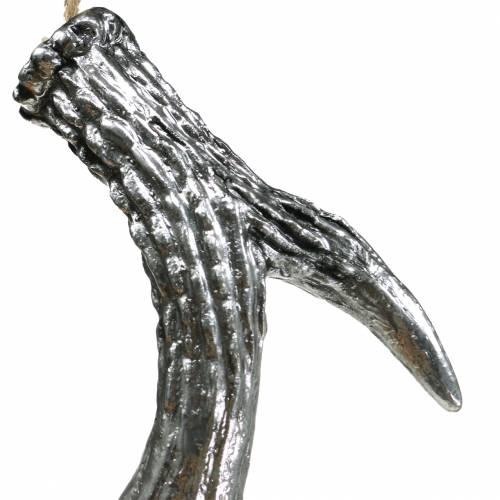 Dekohänger Geweih Silber-Antik 12cm x 11cm 4St