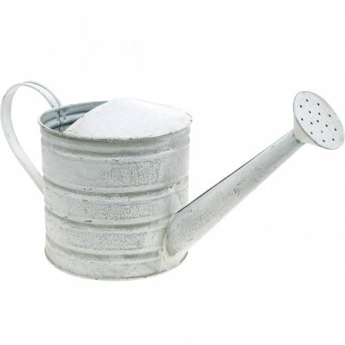 Deko Gießkanne Vintage Metall Pflanzgefäß Weiß gewaschen H16cm