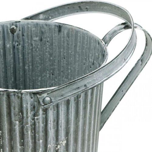 Gießkanne zum Bepflanzen, Deko-Kanne aus Metall, Pflanzgefäß Ø19,5cm