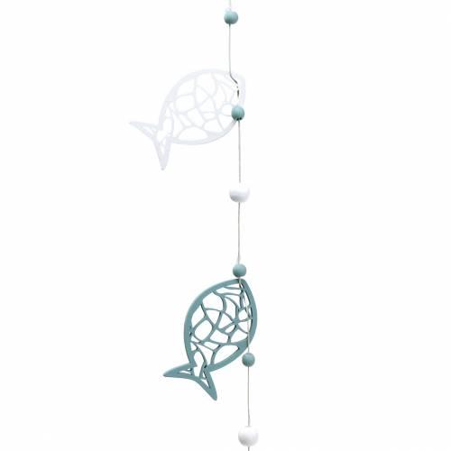Deko-Girlande Maritim Fische und Perlen Blau Weiß 120cm