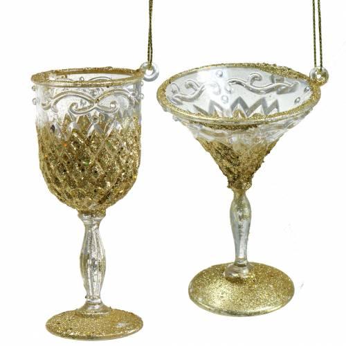 Dekohänger Gläser Gold mit Glimmer 10cm 4St