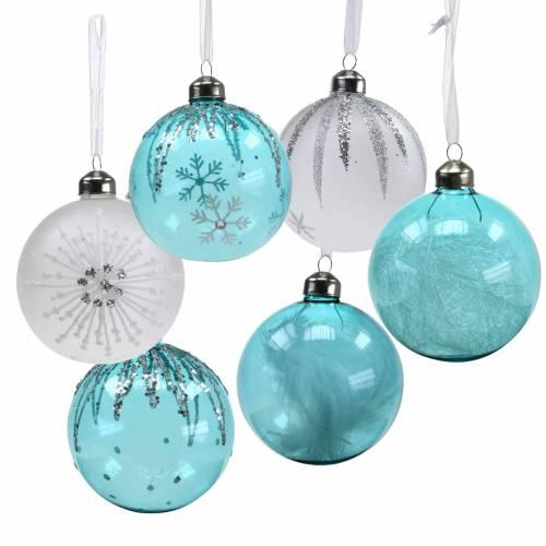 Weihnachtskugel Glas Blau, Weiß Ø8cm Sortiert 12St