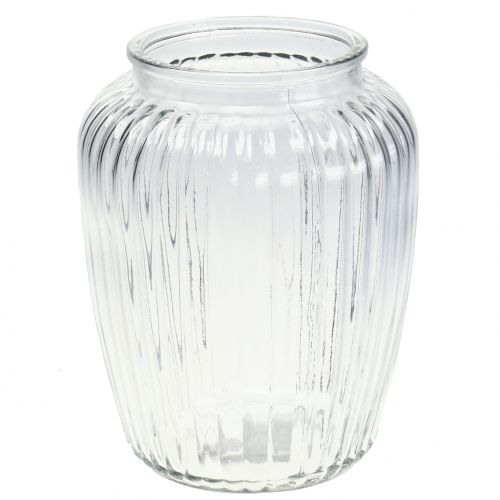 Glasvase gerippt  Ø15cm H19,5cm