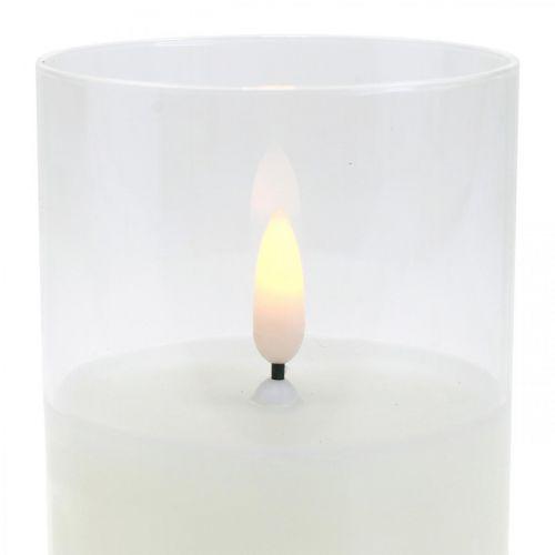 LED-Kerze im Glas mit Flammeneffekt, Indoor-Kerze Warmweiß, LED mit Timer Batteriebetrieben Ø7,5 H12,5cm