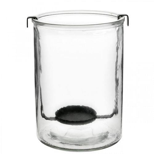 Windlicht Glas mit Teelichthalter Schwarz Metall Ø13,5×H20cm