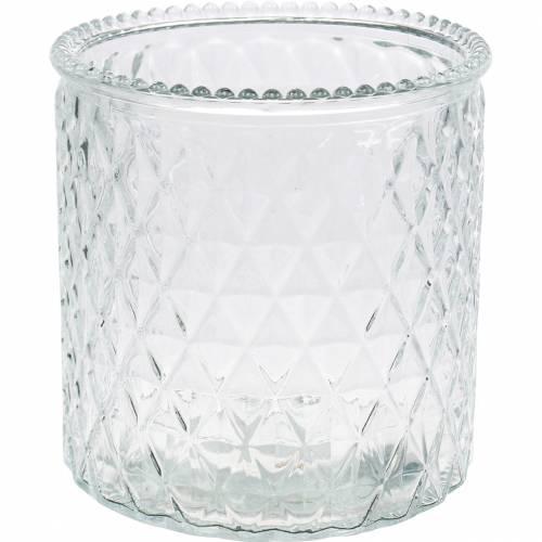 Deko-Glas Rauten Glasvase Klar Blumenvase  2St