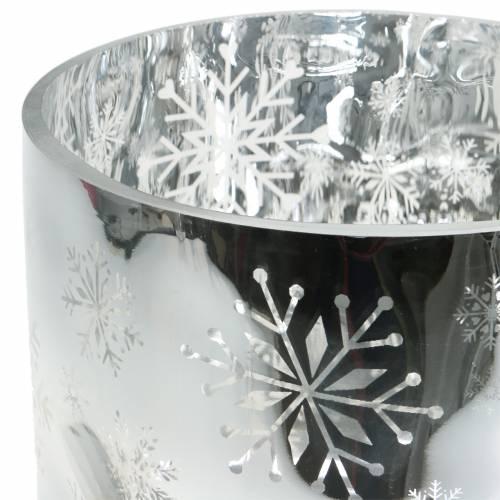 Weihnachtsdeko Windlicht Glas Metallic Ø20cm H20cm