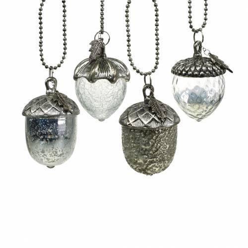 Christbaumschmuck Eichel zum Hängen Metall Glas Silber 7cm 4St