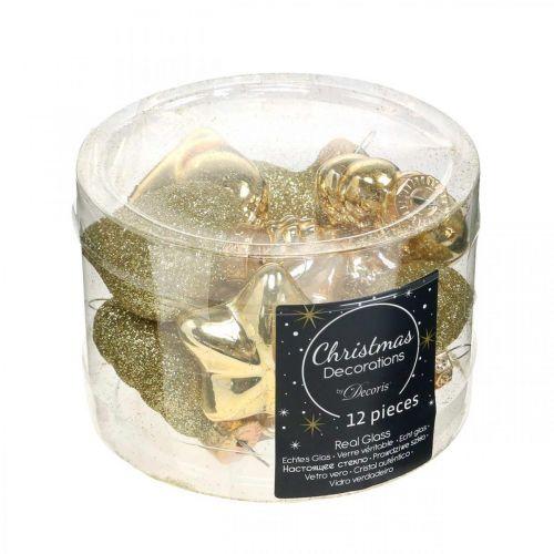 Mini Christbaumschmuck Mix Glas Gold, Perlfarben sortiert 4cm 12St