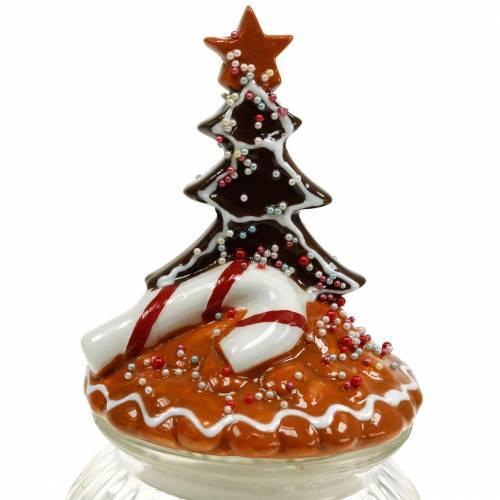 Glasdose mit Keramikdeckel Lebkuchen Weiß, Braun H21,5cm Plätzchendose