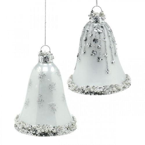 Weihnachtsglocken, Christbaumschmuck, Glocken aus Glas Ø6,5cm H8cm Weiß 2er-Set