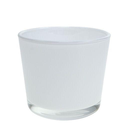 Blumentopf aus Glas Weiß Ø10cm H8,5cm