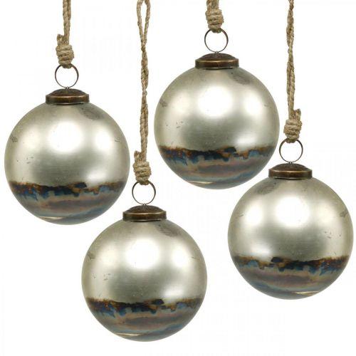 Weihnachtskugeln zweifarbig Glaskugel Blau, Metallic Ø9,5cm 4St