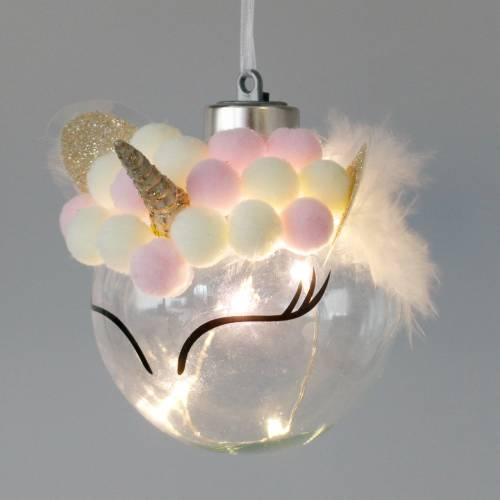 Christbaumkugel Einhorn mit LED-Lichterkette Bonbonfarben, Transparent Glas, Pompom Ø8cm Für Batterien