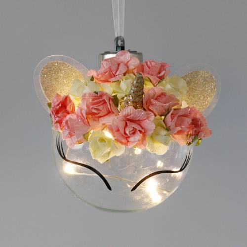 Christbaumkugel Einhorn mit LED-Lichterkette und Blüten Gelb, Rot, Transparent Glas, Papierrosen Ø8cm Für Batterien