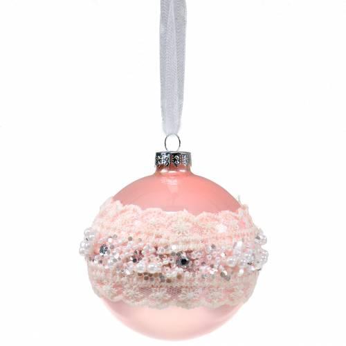 Glaskugel Rosa mit Spitze und Perlen 3St