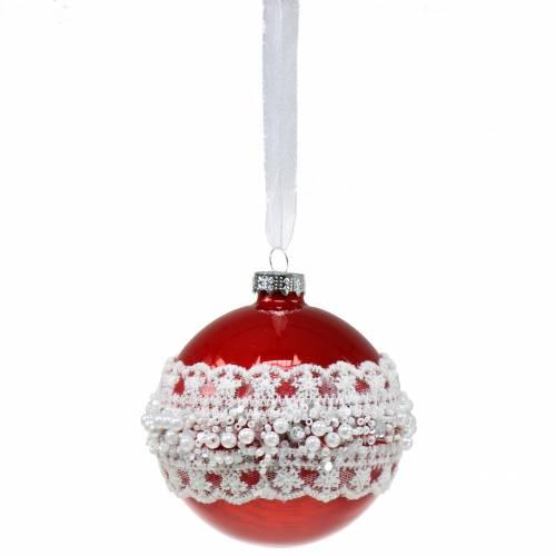 Glaskugel Rot mit Spitze und Perlen 3St
