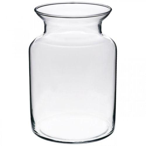 Glas Blumenvase breit klar Ø12cm H20cm
