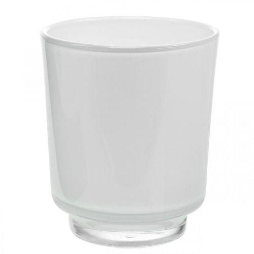 Blumenvase, Glasgefäß, Übertopf Weiß H16cm Ø13,4cm