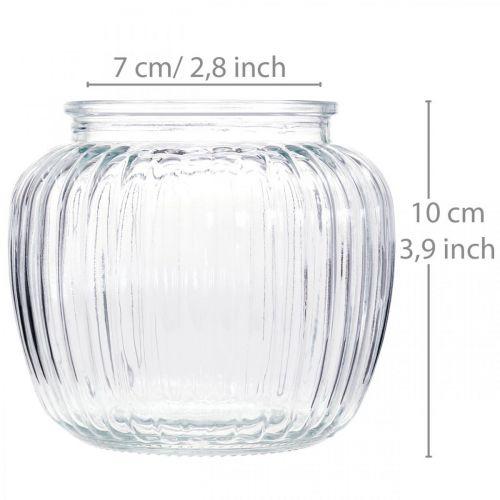 Glasvase gerippt Ø11cm H10cm