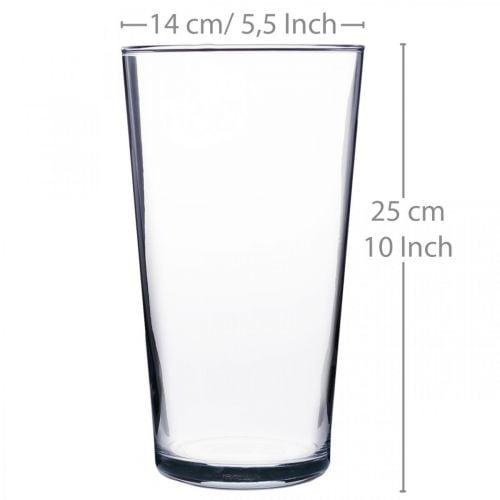 Glasvase konisch Klar Ø14cm H25cm