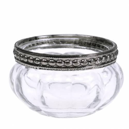 Teelichtglas Antik mit Metallrand  Ø6cm H3,5cm