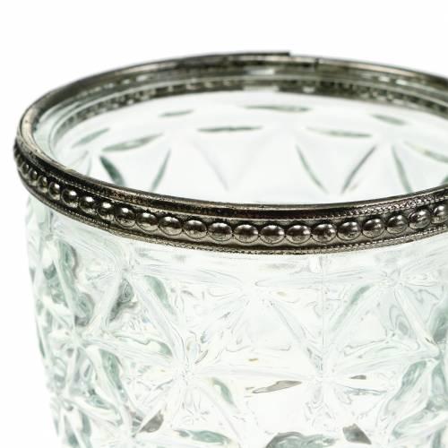 Glaswindlicht am Fuß Antik mit Metallrand Ø9cm H13,5cm