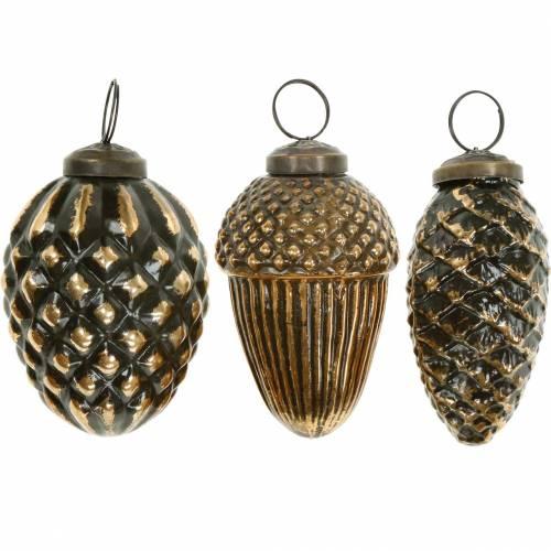 Eicheln und Zapfen zum Hängen Braun, Golden Glas 8,5cm 3St im Set