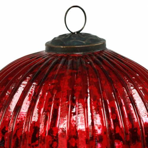 Glaszapfen zum Hängen Rot 22cm Großer Weihnachtsschmuck