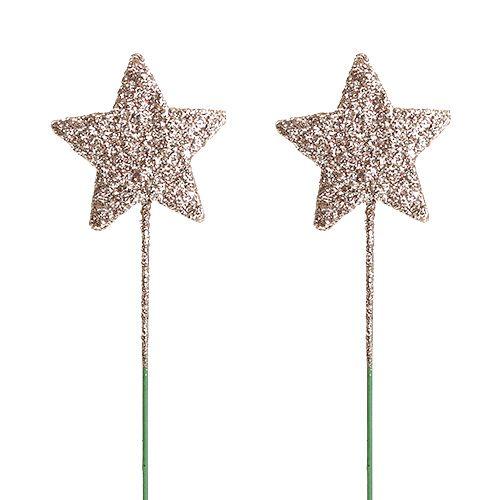 Glitterstern am Draht 4cm L23cm Hellgold
