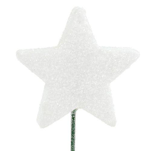 Glitterstern am Draht 5cm Weiß L23cm 48St