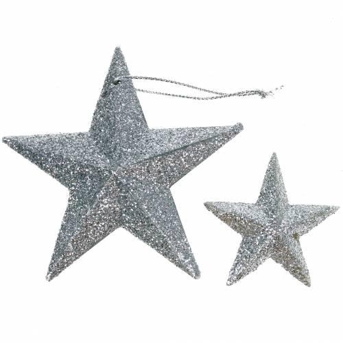 Glitterstern Silber 9,5/5cm 18St