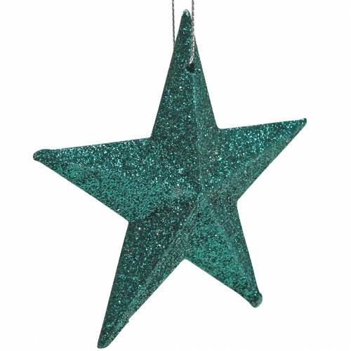 Glitterstern-Set Dekohänger und Streudeko Smaragd, Hellgrün 9cm/5cm 18St