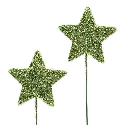 Glittersterne am Draht Grün 5cm 48St