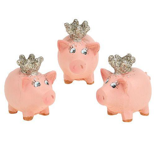 Glücksschwein Rosa mit Krone 4cm 6St