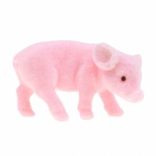 Glücksschwein rosa beflockt 9cm 6St