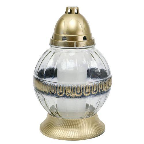 Grablicht Glas mit Ornament Ø16cm H28,5cm Gold 2St
