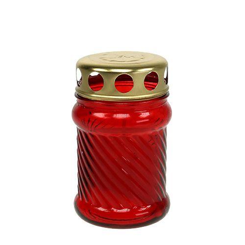 Grabkerzen aus Glas Rot Ø6cm H11cm 12St