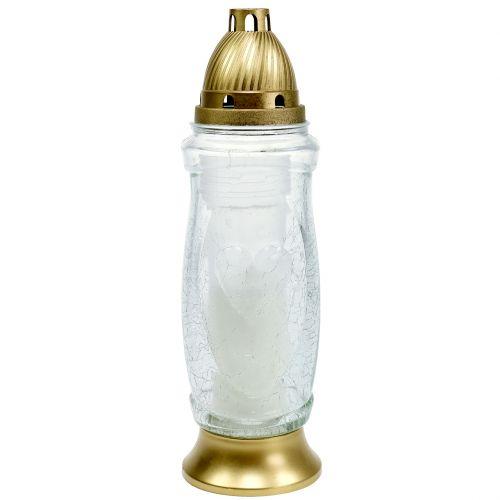 Grablicht Herz 52h Ø10cm H34,5cm Gold
