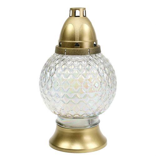 Grablicht Kugelform 28h Ø13cm H24,5cm Gold